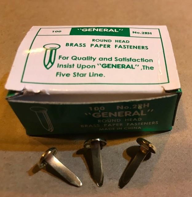 """Fastener, Paper, round head, Brass, #2-1/2"""" Shank, 100/box"""