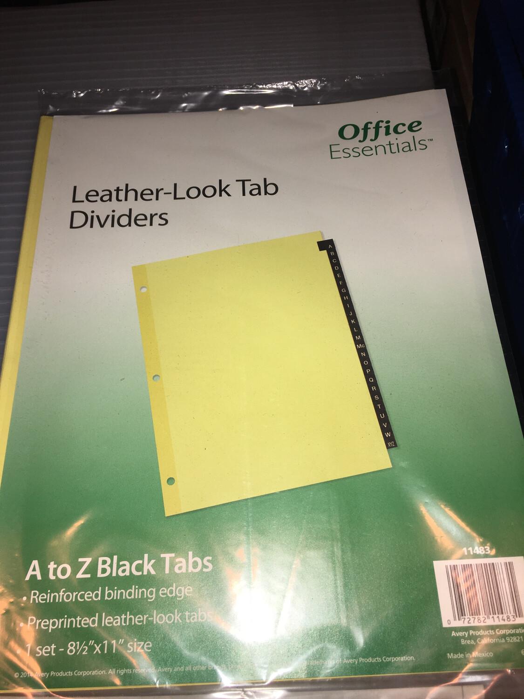 Divider Sheets, A - Z LEATHERETTE TABS, FOR 3-RING BINDER