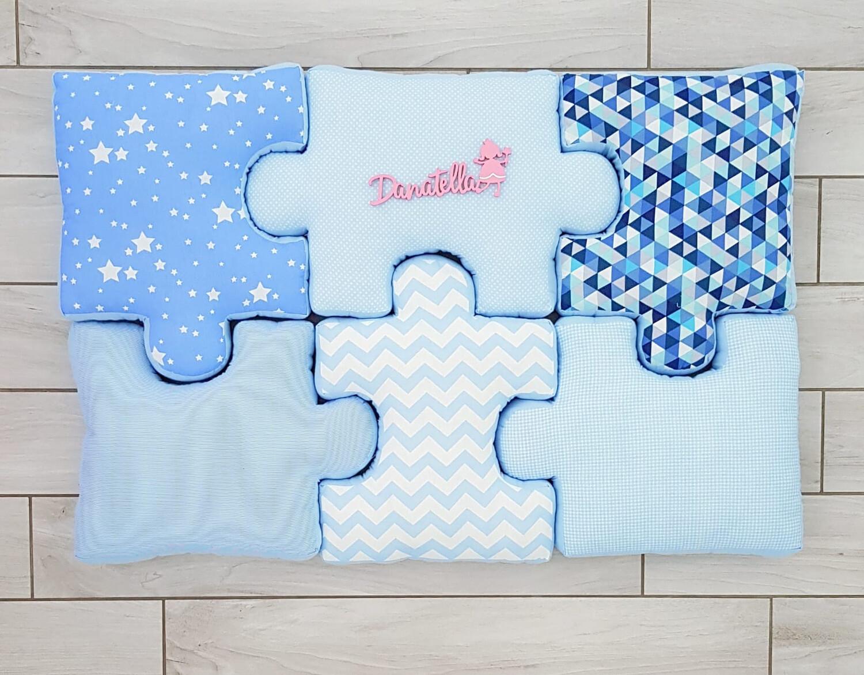 Cuscini Celesti.Cuscini Puzzle Celeste Blue