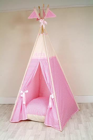 premium selection f40d1 f3f0e Classic Pink Stripe children's teepee ( free lights , flags ,  personalisation and bunting)