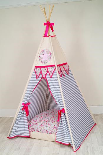 watch 7c511 fee4d Floral Pink Star and Stripes kids teepee ( free lights , flags ,  personalisation and bunting)