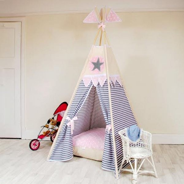 new arrivals 4a028 165be Stars and Stripes (Pink) children's teepee ( free lights , flags ,  personalisation and bunting)