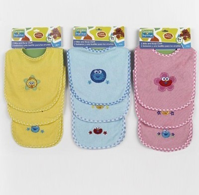 2 Piece Bib Sesame Street bib set with Burp Cloth