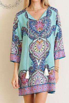 Border Print Shift Dress Color Jade Color ONLY