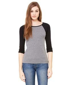 Bella + Canvas Ladies' Baby Rib 3/4-Sleeve Contrast Raglan T-Shirt
