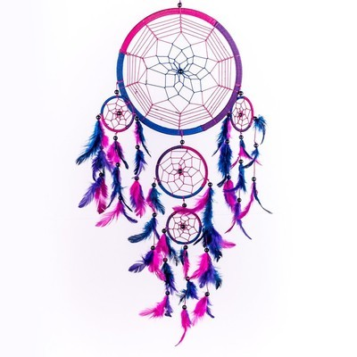 Dream Catcher Circular Purple Feathers Wall Hanging Decoration Decor Craft Purpl