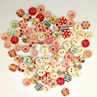 100 Pcs Flower Print 2 Holes Wood Buttons Sewing Scrapbooking Button DIY Craft