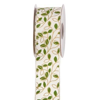 Green & White Greenery Ribbon: 1-1/2 inch x 10 yards