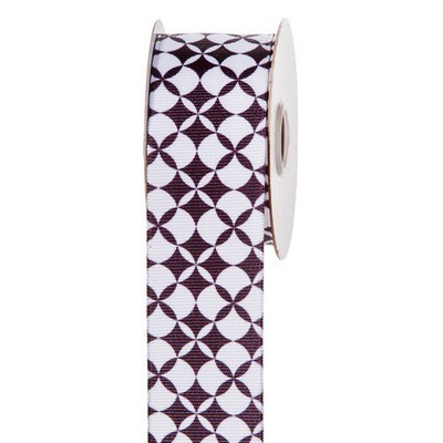Black & White Retro Flower Patterned Ribbon: 1-1/2 inch x 10 yards