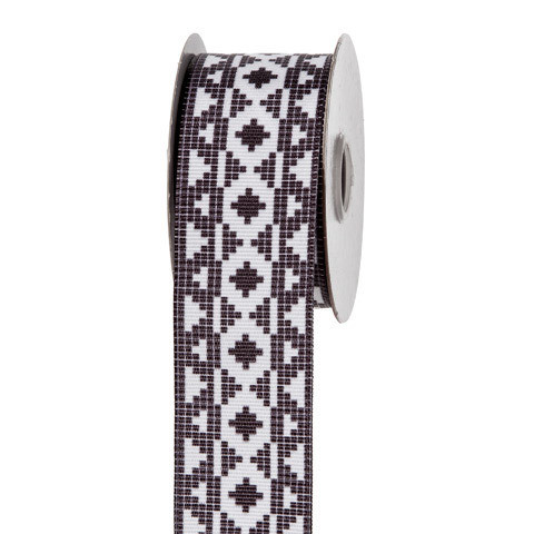 Black & White Mosaic Ribbon: 1-1/2 inch x 10 yards