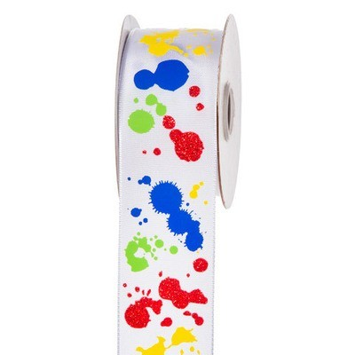 Primary Colors Paint Splatter Ribbon: 1-1/2 inch x 10 yards