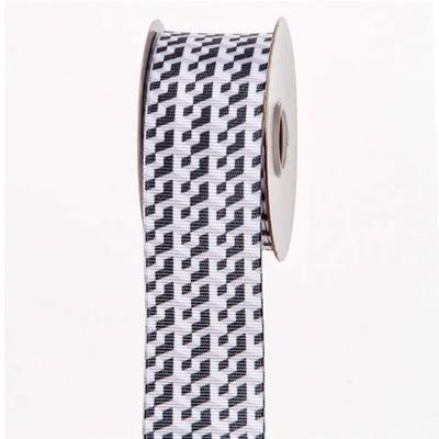Black, White & Gray Step Grid Ribbon: 1-1/2 inch x 10 yards