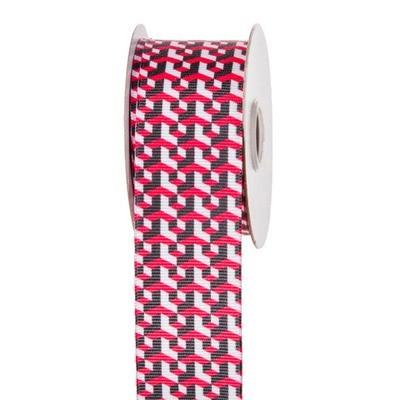 Black & Red Step Grid Ribbon: 1-1/2 inch x 10 yards