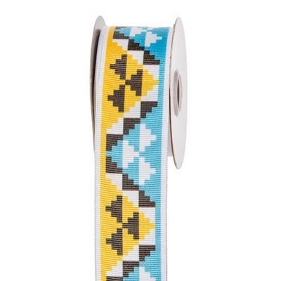 Blue & Yellow Aztec Print Ribbon: 1-1/2 inch x 10 yards