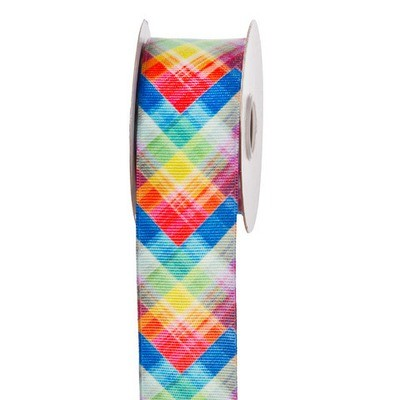 Bright Plaid Ribbon: 1-1/2 inch x 10 yards