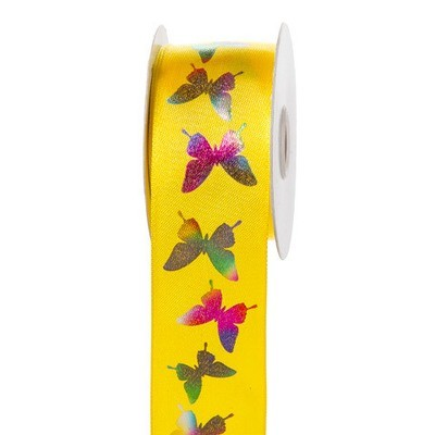 Pink Rainbow Butterfly Ribbon: 1-1/2 inch x 10 yards