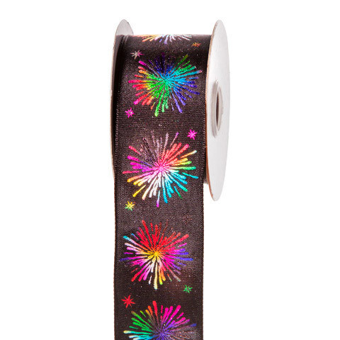 Black Rainbow Firework Ribbon: 1-1/2 inch x 10 yards