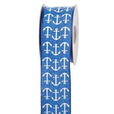 Blue Nautical Ribbon w/White Anchors: 1-1/2 inch x 10 yards