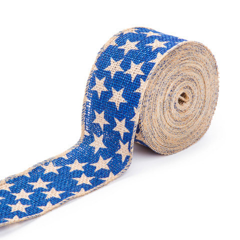 Darice® Blue Star Burlap Ribbon: 2-1/2 inches x 25 feet