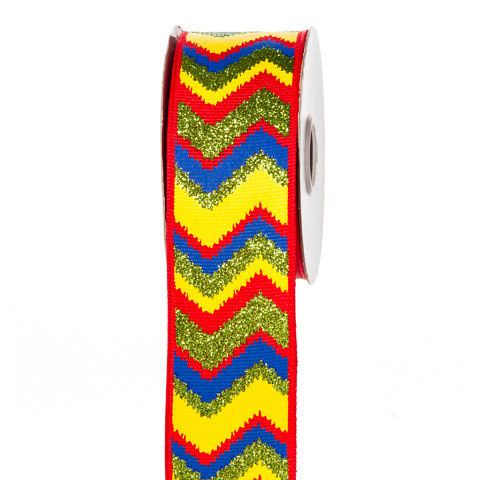 Primary Colors Glitter Chevron Ribbon: 1-1/2 inch x 10 yards