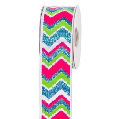 Neon Glitter Chevron Ribbon: 1-1/2 inch x 10 yards