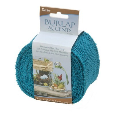 Darice® Colored Burlap Ribbon - Turquoise Blue - 2.5 inches x 10 yards