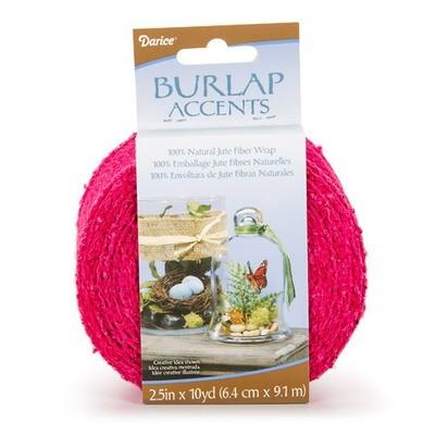 Darice® Colored Burlap Ribbon - Fuchsia Pink - 2.5 inches x 10 yards