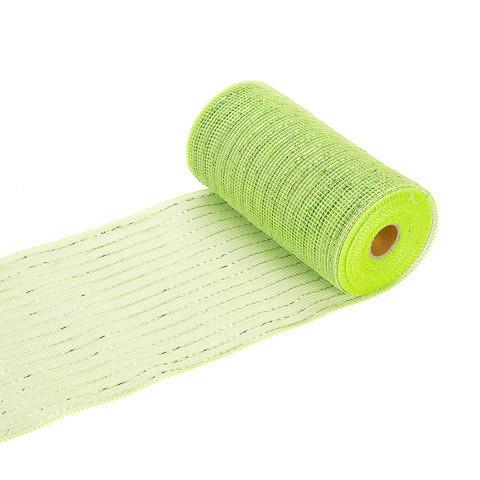 Metallic Mesh - Apple Green w/ Lime Green Foil - 6 inches x 10 yards