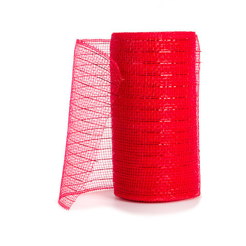 Metallic Mesh - Red w/ Red Foil - 6 inches x 10 yards