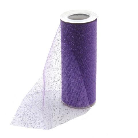 Glitter Tulle - Purple w/ purple Glitter - 6 inches x 10 yards