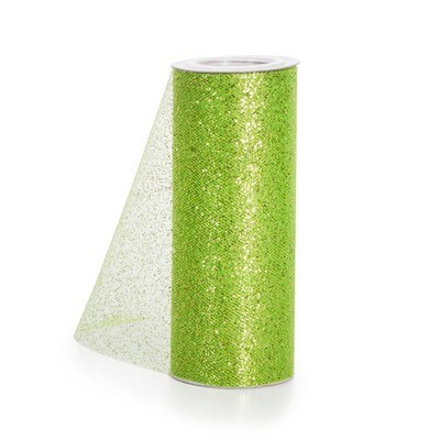 Glitter Tulle - Lime w/ lime Glitter - 6 inches x 10 yards