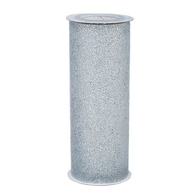 Glitter Tulle - Silver w/ silver Glitter - 6 inches x 10 yards