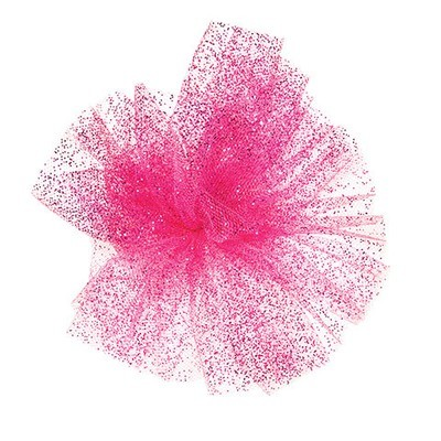 Glitter Tulle: Raspberry, 6 inches x 10 yards