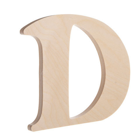 7.25 inch Unfinished Wood Fancy Letter D