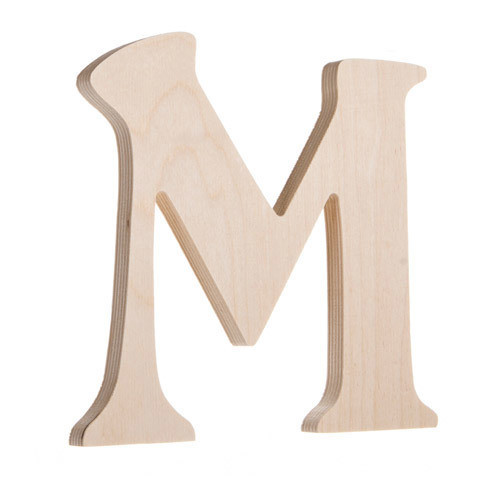 7.25 inch Unfinished Wood Fancy Letter M