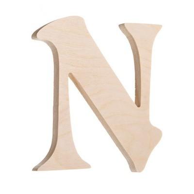 7.25 inch Unfinished Wood Fancy Letter N