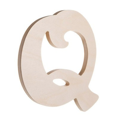 7.25 inch Unfinished Wood Fancy Letter Q
