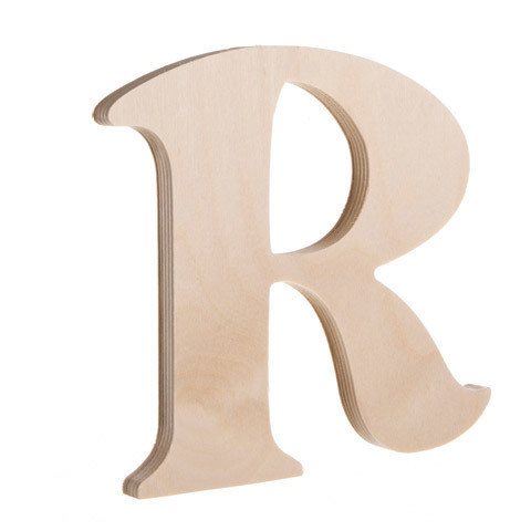7.25 inch Unfinished Wood Fancy Letter R