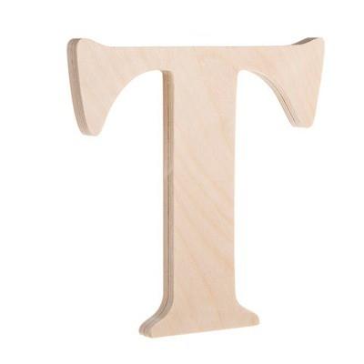 7.25 inch Unfinished Wood Fancy Letter T