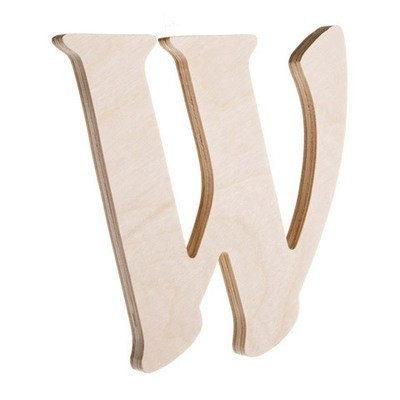 7.25 inch Unfinished Wood Fancy Letter W