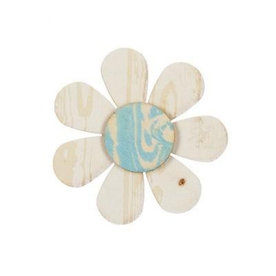 Daisy Wood Craft Shape: Whitewashed/Blue, 3.75 inches