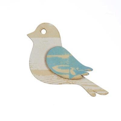 Bird Wood Craft Shape: Whitewashed/Blue, 4.5 x 3.5 inches