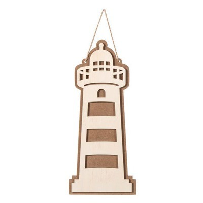 Layered Wood & MDF Lighthouse Shape: 11.7 inches