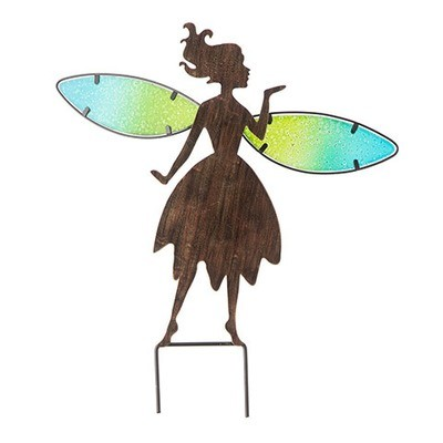 Rustic Fairy Garden Stake w/Multicolor Wings: 16 inches