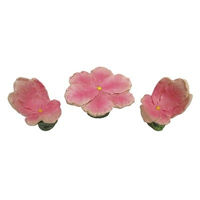Mini Fairy Garden Table & Chairs Set: Pink Flowers, 3 pieces