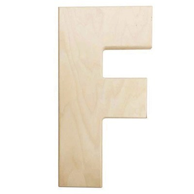12 inch Bold Unfinished Wood Letter F