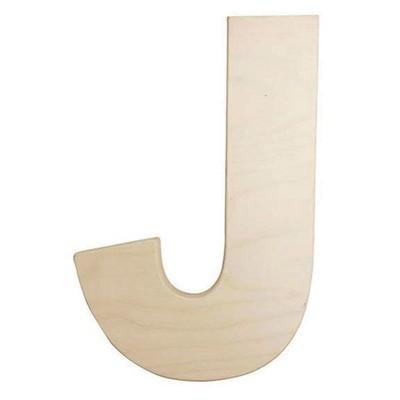 12 inch Bold Unfinished Wood Letter J