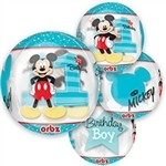 16 inch Mickey Mouse 1st Birthday Clear ORBZ (PKG)