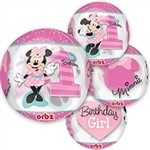 16 inch Minnie Mouse 1st Birthday Clear ORBZ (PKG)