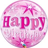 22 inch BUBBLES Birthday Pink Starburst Sparkle